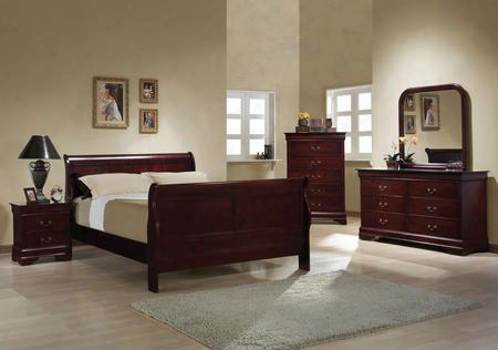 Louis Philippe 203971fset 5 Pc Bedroom Set  With Full Size Sleigh Bed + Dresser + Mirror + Chest + Nightstand In Red Brown
