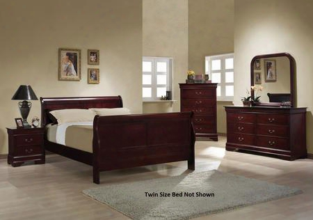 Louis Ph Ilippe 203971tset 5 Pc Bedroom Set With Twin Size Sleigh Bed + Dresser + Mirror + Chest + Nightstand In Red Brown