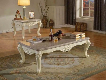 Madrid 274ce 2 Pc Living Room Table Set With Coffee Table + End Table In White