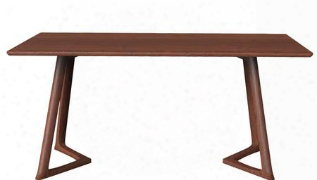 """Malmo Ashtree In5w 71"""" Dining Table With Clean Line Design Solid North American Ash Frame And Uniquely Shaped Base In Wood Veneer Dark"""