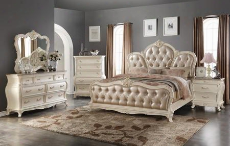 Marquee Marqueeqdmcn 5 Pc Bedroom Set With Queen Size Bed + Dresser + Mirror + Chest + Nightstand In Pearl White