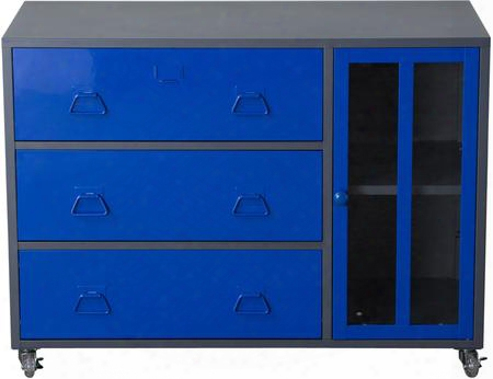 "Nova Qwik Fd06bu 39"" Storage Cabinet With 1 Tempered Glass Door 3 Drawers 22 Gauge Steel Construction And Adjustable Shelf In Bluue And Dark Grey"
