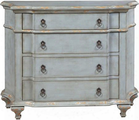 "P017009 46"" Accent Four Drawer Chest With Shaped Top And Sides Molding Detail Decorative Hardware And Tapered Legs In"