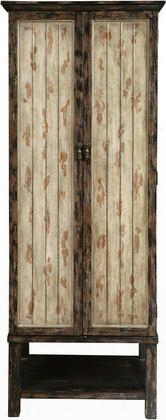"""P017025 79"""" Tall Two Toned Rub Through Accent 2 Door Cabinet Including Two Tray Drawers And Four Shelves With Distressed Detailing And Block Feet In Cream And"""