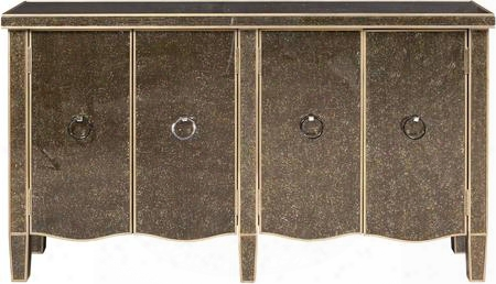 "P017041 62"" Tiara Silver Glass Console Including Four And Two Adjustable Shelf With Nickel Hardware And Tapered Legs In"