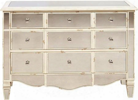 "P017042 46"" Mirrored Rub Through Accent Drawer Chest With Chrome Hardware Simple Pulls And Tapered Legs In"