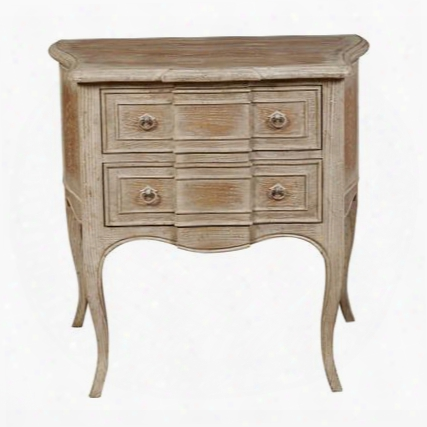 """P017052 32"""" Washed Breakfront Accent Drawer Chest With Cabriole Legs Distressed Detailing And Decorative Hardware Iin Natural"""