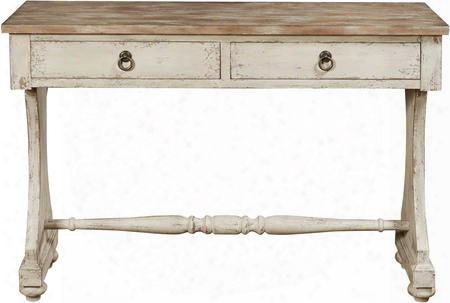 "P017145 48"" Console Table By The Side Of Two Drawers Turned Feet Distressed Detailing And Stretchers In"