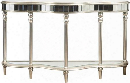 "P017164 60"" Mirrored Console Table With Beveled Mirror Turned Legs And Bottom Shelf In"
