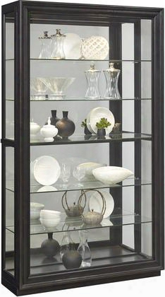 """P021553 80"""" Rockfor Mirrored Tow Way Sliding Glass Door Curio With Four Adjustable Glass Shelves Two Led Lights With 3-way Touch Dimmer Switch And Molding"""