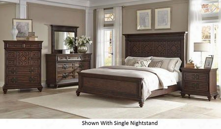 Palencia 799kpbdm2nc 6-piece Bedroom Set With King Panel Bed Dresser Mirror 2 Nightstands And Chest In Rustic