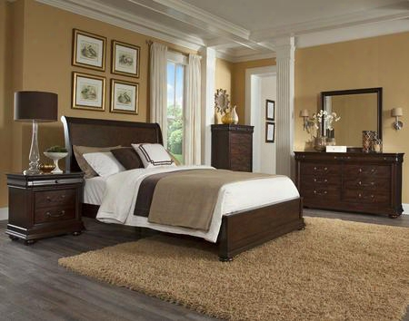 Parkview 398ksbdmnc 5-piece Bedroom Set With King Sleigh Bed Dresser Mirror Nightstand And Chest In Bourbon