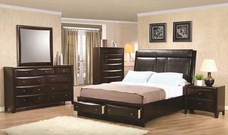 Phoenix 200419keset 5 Pc Bedroom Set With Eastern King Size Platform Bed + Dresser + Mirror + Chest + Nightstand In Cappuccino