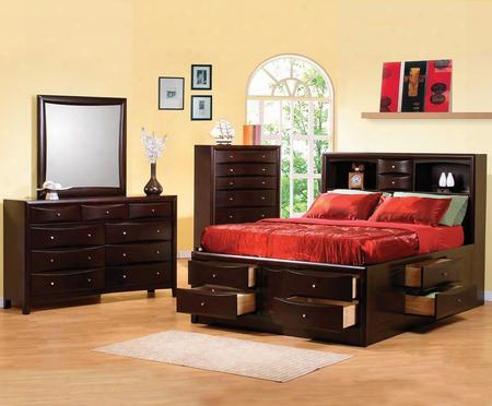 Phoenix Collection 200409kwset 4 Pc Bedroom Set With California King Bed + Dresser + Reflector + Chest In Deep Cappuccino