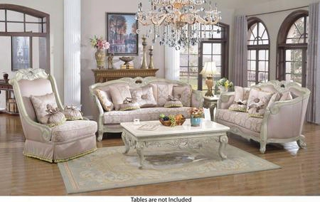 Positano 621-s-l-c 3 Piece Living Room Set With Sofa + Loveseat And Chair In Antique White