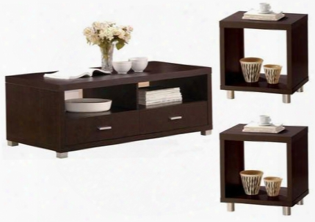 Redland 06612ce 3 Pc Living Room Table Set With Coffee Table + 2 End Tables In Espresso