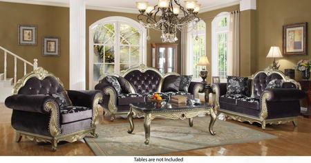 Roma Collection 653-s-l-c 3 Piece Living Room Set With Sofa + Loveseat And Chair In Grey Antique