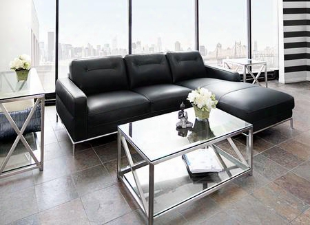 "Sable Sablerf2pcsectbl 107"" Right Facing Chaise Sectional With Metal Trim Accents Chrome Metal Legs And Black Air"