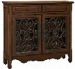"56416 40"" Cupboard with 2 Drawer 2 Door Hand Forged Bronzed Metal and Interior Shelf in Hollin Brown and Bronze"