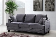 "Ferrara 655GRY-S 84"" Sofa with Top Quality Bonded Velvet Upholstery Silver Nail Heads Design and Quilted Pillows in"