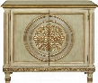 "P017019 40"" Ornate Medallion Two Door Hall Chest with Adjustable Shelf Molding Detail Decorative Gold Trim and Overlay in"