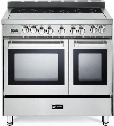 "Vefsee365dss 36"" Electric Range With 5 Elements Dual Ovens With 3.9 Cu. Ft. Total Capacity European Convection Ez Clean Porcelain Interior 4 Heavy Duty"