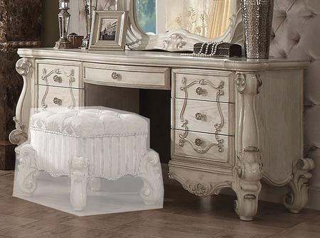 "Versailles 21137 67"" Vanity Desk With 7 Drawers European Design Carved Scrollwork Antique Decorative Metal Hardware In Bone White Veneer"