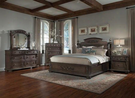 Versailles 980ckpbdmnc 5-piece Bedroom Set With King Poster Bed Dresser Mirror Nightstand And Chest In Normandie