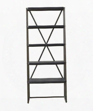 "Vintage Tempo 402600 33"" Etagere With 4 Stationary Wood Shelves X-back Design And Metal End Frames In Black"