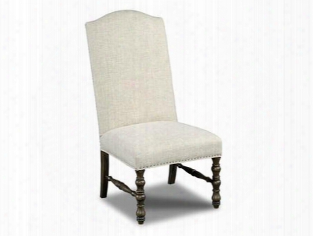 "300 Series 300-350127 45"" Traditional-style Dining Room Upholstered Armless Chair With Nail Head Accents Turned Legs And Fabric Upholstery In Austin"