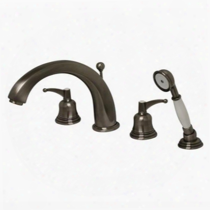 514433tfp Blairhaus Adams Deck Mount Tub Filler Set With Smooth Lined Arcing Spout Bell-shaped Lever Handles Beveled Escutcheons Hand Held Shower With White
