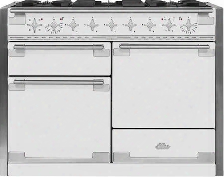 "Ael48dfwht 48"" Aga Elise Dual Fuel Range With 6 Cu. Ft. Oven Capacity Convection Bake Broiler Easyclean Enamel Sealed Burners Interlocking Matte Cast Iron"