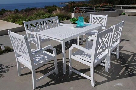 Bradley V1336set23 6 Pc Outdoor Dining Set With 1 Rectangle Table 1 Bench 4 Arm Chairs Water Resistant Umbrella Hole And Acacia Hardwood Construction In