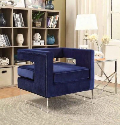 "Carson 502navy 32"" Accent Chair With Acrylic Legs Contemporary Design And Black Velvet In"