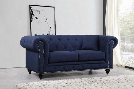 """Chesterfield 662navy-l 71"""" Loveseat With Top Quality Linen Fabric Upholstery Silver Nail Heads And Accent Pillows In"""