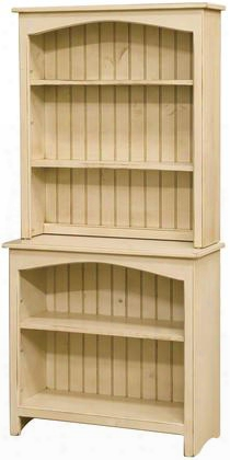 "Concord 465108b 32"" Bookcase By The Side Of 3 Shelves Hutch And Pine Wood Construction In Buttermilk"