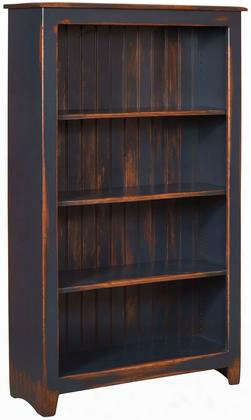"Cornelia 465114nda 36"" Bookcase With 4 Shelves Distress Antique And Pine Wood Construction In Navy"
