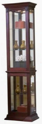 "D022004 18"" Curio Cabinet With 3 Glass Shelves Right Side Entry Carved Medallions Interior Lighting And Brass Finished Hardware In Gallery Iii"