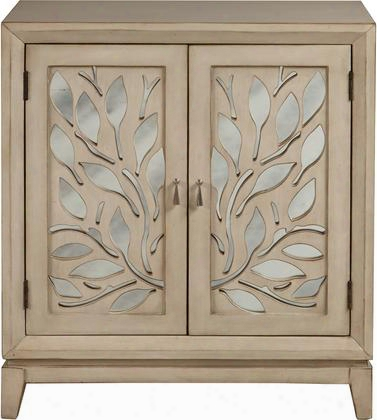 """Ds-a092004 33"""" Traditional Style Door Cabinet Including 2 Doors With Cut Out Floral Pattern And Mirrored Backing In"""