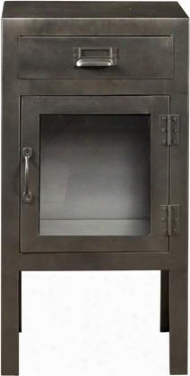 """Ds-a154-902 17"""" Metal Door Chest Including One Drawer And One Door With Glass Insert For Storrage And Simple Pulls In"""