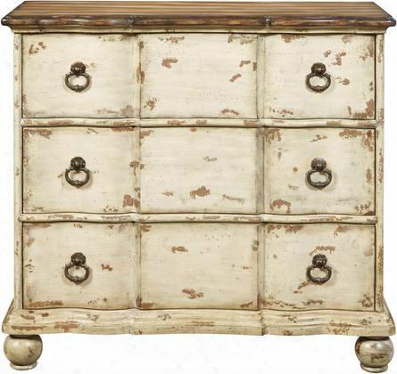 "Ds-p017029 20"" Two Tone Distressed Drawer Chest Including Three Drawers With Distressed Detailing And Decorative Hardware In"