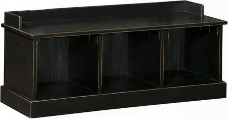 "Friendship 465229b 47.25"" Hall Bench With 3 Open Storage Cubbies And Premium Grade Pine Wood Construction In Black"