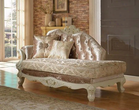 "Grace 687-ch 71"" Chaise With Imported Fabrics Upholstery French Provincial Hand Crafted Designs Crystal Tufting And Removable Backs In Pearl"