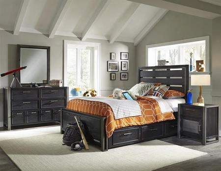 Graphite 8942401532533bdmnd 5 Pc Bedroom Set With Full Size Bed + Dresser + Mirror + Nightstand + Underbed Storage Drawers In Black