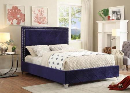 Hampton Hampton Navy-k King Size  Bed With Chromeo Naiheads Quilted Design And Full Slats In Navy