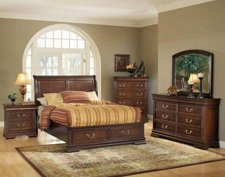 Hennessy 19450q5pc Bedroom Set With Queen Size Bed + Dresser + Mirror + Chest + Nightstand In Brown Cherry
