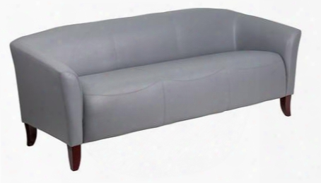 """Hercules Imperial 111-3-gy-gg 73"""" Leathersoft Sofa With Cherry Wood Stained Feet Sloping Arms And Ca117 Fire Retardant Foam In"""