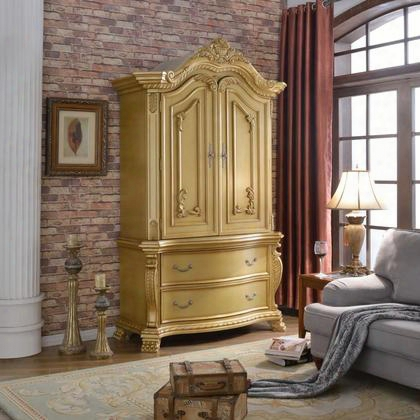 "Laviish Lavish-a 55"" Armoire With 2 Drawers 2 Doors Hand Carved Traditional Design In Rich Gold"