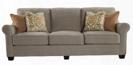 "Leola 5360138 95"" Fabric Sofa With Rolled Arms Pillows Included And Reversible Ultraplush Cushions In"