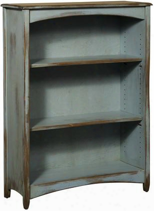 "Liliana 4650148sfda 36"" Bookcase With 3 Shelves Distressed Antique And Premium Grade Pine Wood Construction In Seafoam"